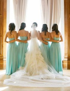 Discover the most elegant bridesmaid dresses in an amazing range of styles, colors and sizes. Junior bridesmaids, flower girl dresses, and men's formal wear to match. Find the perfect wedding accessories for your bridal party! Wedding Picture Poses, Wedding Poses, Wedding Pictures, Wedding Dresses, Bride And Bridesmaid Pictures, Bridesmaid Poses, Bridal Party Poses, Bridal Gown, Mint Bridesmaid Dresses