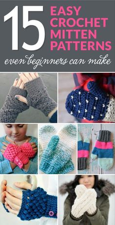Crochet For Beginners Looking for an easy crochet pattern to keep your hands warm this winter? Check out this list of 15 Easy Crochet Mitten Patterns Even Beginners Can Make! Fast Crochet, Crochet Video, Wire Crochet, Crochet For Kids, Crochet Geek, Simple Crochet, Irish Crochet, Crochet Mittens Free Pattern, Easy Crochet Patterns