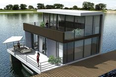 Modern Floating Home Floating Architecture, Architecture Design, Houseboat Living, Floating House, Tiny House Movement, Shipping Container Homes, Cozy Cottage, Boat Plans, Modern House Design