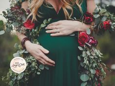 Winter Maternity Shoot by Jennifer Skog featuring floral garland and the woods