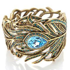 "Heidi Daus ""Pretty as a Peacock"" Crystal Bangle Bracelet"
