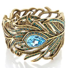 "Heidi Daus ""Pretty as a Peacock"" Crystal Bangle Bracelet"