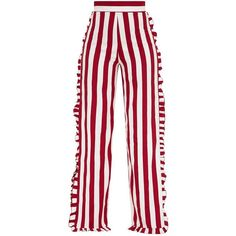 Burgundy Humbug Stripe Frill Split Trousers (953.485 VND) ❤ liked on Polyvore featuring pants, white trousers, burgundy pants, burgundy trousers, frilly pants and stripe pants