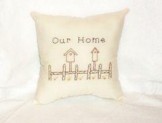 Stitchery Pillow Primitive Original Design by NeedlesnPinsStichery, $8.00