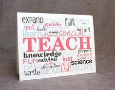 Greeting Card Teacher Appreciation by #patternedpomegranate on Etsy #teacherthanks #appreciation #typography #wordcollage