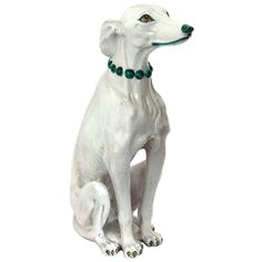 Italian Ceramic Greyhound or Whippet Dog | From a unique collection of antique and modern ceramics at http://www.1stdibs.com/furniture/dining-entertaining/ceramics/