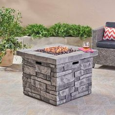 Shop for Angeles Outdoor Propane Square Fire Pit Table with Lava Rocks by Christopher Knight Home. Get free delivery On EVERYTHING* Overstock - Your Online Garden & Patio Outlet Store! Get in rewards with Club O! Outdoor Propane Fire Pit, Outdoor Fire Pit Table, Fire Table, Fire Pit Backyard, Outdoor Living, Fire Pit Ring, Diy Fire Pit, Fire Pits, Glass Fire Pit