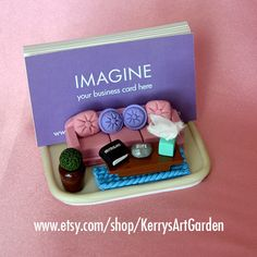 Therapist Polymer Clay Business Card Holder $35 www.etsy.com/shop/KerrysArtGarden