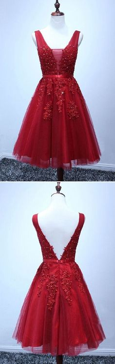 Red Short V-neckline Homecoming Dresses, Red Short Prom Dress, Red Party Dresses