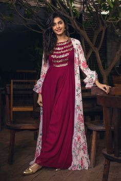Ankle length plum tinctured dress embellished with sequence in cowl pattern coordinated with a gathered cape. Fabric: Crepe Care: dry clean only Please contact us for any customization Indian Designer Outfits, Indian Outfits, Designer Dresses, Hijab Fashion, Fashion Dresses, Indian Gowns Dresses, Hijab Style, Kurti Designs Party Wear, Dress Indian Style