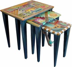 Sticks Nesting Tables at Smith Galleries with Wind set) Sticks Furniture, Types Of Furniture, Painted Furniture, Large Table, Nesting Tables, Crafty Projects, Decoupage, Galleries, Sculpture