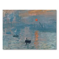 24 x 32 Impression Sunrise Canvas Wall Art by Claude Monet, Blue