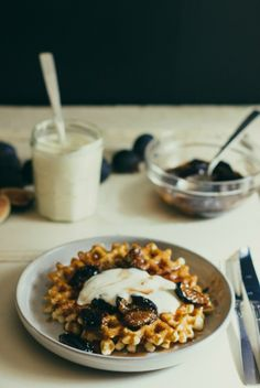 waffles with fig compote and orange-honey crème fraîche