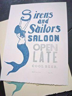 Sirens and Sailors, Linocut Letterpress Poster (Royal Blue). $32.00, via Etsy.