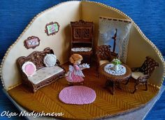 afternoon tea in the parlor....wow! the details and work in this cookie diorama!