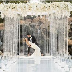 Duke Images captured this shot - and we can help with the Beaded Curtains and Florals! As featured on Carats and Cake - a stunning Wedding Gazebo surrounded by Diamonds Crystal Beaded Curtains and topped with dangling Orchids. Indoor Wedding Ceremonies, Wedding Venues, Wedding Gazebo, Wedding Ideas, Wedding Mandap, Wedding Images, Wedding Table, Destination Wedding, Wedding Planning