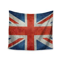 """Bruce Stanfield """"UK Union Jack Flag"""" Red Blue Wall Tapestry"""