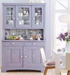 Lavender buffet and hutch Lavender Kitchen, Lavender Cottage, Purple Kitchen, Refurbished Furniture, Upcycled Furniture, Painted Furniture, Diy Furniture, Purple Cabinets, Purple Home