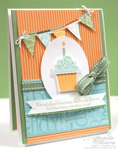 Card, cupcake & pennants stamps & punches.Teneale Williams - tenealewilliams.com.au (Stampin' Up) Note: The insides of her cards as just as beautiful as the front of her cards!! I love her work!!!!
