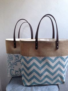 Soft aqua and cream chevron and burlap tote bag by PoppyKosh