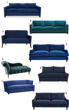 A curated collection of 34 blue velvet sofas, from contemporary and mid-century modern to transitional and traditional, from high to low… Living Dining Combo, New Living Room, Sofas, Couches, Sectional Sofa, Blue Velvet Couch, Bedroom Colour Palette, Living Room Tv Unit Designs, Office Sofa