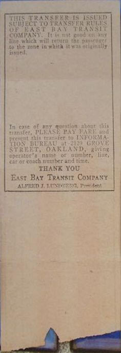 Back of Key System Transit Lines (Oakland, California and vicinity ...