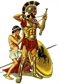 An attendant preparing the Greek hoplite (οπλίτη) for battle. The helots (είλωτες) usually assisted the Spartans with their panoply which would take several minutes at least to 'armor up'.