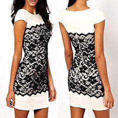 New Celeb Ladies Bodycon Pencil Black Lace Cocktail Evening Party Dress Size8-16