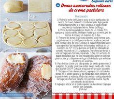 Donas azucaradas rellenas de crema pastelera II parte