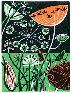 'Meadow' by Angie Lewin (wood engraving) Linocut Prints, Art Prints, Angie Lewin, Scandinavian Folk Art, Linoprint, Doodles, Illustration, Wood Engraving, Textile Artists
