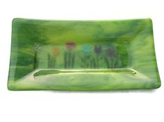 Whimsical Flowers On Streaky Green Fused Glass by fostersbeauties