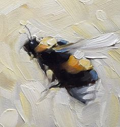 Bumblebee painting Original impressionistic oil painting of a