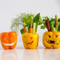 Bell Pepper Jack O'Lanterns with Vegetables and Dip Recipe | Sunset #Halloween #appetizers #dips