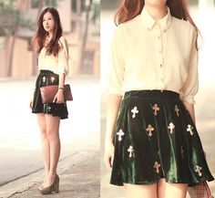 "Romwe Embellished Shirt, Romwe Sequined Cross Velvet Skirt //""十"" by Mayo Wo // LOOKBOOK.nu"