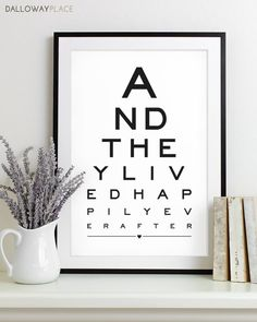 Wall Art Print Eye Chart - love quote art typography poster anniversary gift wedding shower - Happily Ever After 12x18. $19.00, via Etsy.