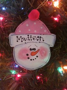 Snowman Christmas Ornaments Personalized Holidays by EvansCraftHut