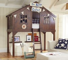 A treehouse bed is guaranteed to transform any child's room into the ultimate hideaway. In recent years we have seen some wonderful ones, both store-bought and homegrown. Here are a few favorites.