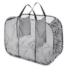 Useful Compartments - Zebra Triple Sorter Laundry Hamper - Cool Zebra-Print Design