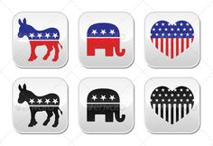 USA Political Parties Buttons  #GraphicRiver         American politics – democratic donkey and repubilcan elephant symbols isolated on white  FEATURES:   100% Vector Shapes  All groups have names  All elements are easy to modify – you can change coulours, size  Pack include version AI, EPS, JPG      Created: 26October13 GraphicsFilesIncluded: JPGImage #VectorEPS #AIIllustrator Layered: No MinimumAdobeCSVersion: CS Tags: OfAmerica #america #american #button #democratdokney #democrats…