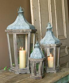 Wood & Galvanized Metal Lanterns set of 3.