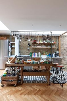 Open plan kitchen with salvaged furniture - © Jake Fitzjones/GAP Interiors