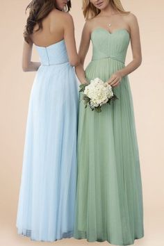 d1492b13e75 Light Blue   Green Chiffon Strapless Bridesmaid Dresses with Tulle Overlay