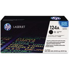 OEM HP 124A black laser cartridge. New Q6000A toner cartridge for HP Color LaserJet 1600, 2600, 2605 series printers.