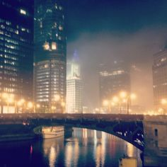 Foggy view of the Chicago River