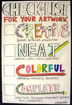 """""""Check-List for Your Artwork;"""" by: The Lost Sock : Artlab Wall of Wisdom"""