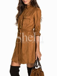 Vestido manga larga solapa -marrón 27.59