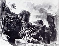 """Siegfried Meeting the Wanderer (1876), photograph by Victor Angerer (1839-1894), of the set design by Josef Hoffman (1831-1904), for Act 3, Scene 2, of """"Siegfried""""  (1871), by Richard Wagner (1813-1883)."""