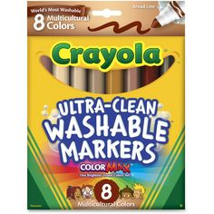 Multicultural Markers offer colors for diverse skin tones. Marks are washable from skin, clothing and most surfaces. Marker meets the need for the increase in diverse populations touching all curricular threads. Ink is certified AP nontoxic.