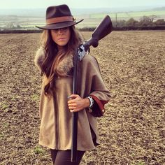 The beautiful tweed and fur Cape in brown herringbone bone worn by Jade Holland Cooper with the matching HC trilby hats #britishmade