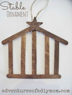 Cute cute stable ornament w/craft sticks. // Would be a great alternative for the stable ornament on day 14 of Preschool Christmas, Noel Christmas, 12 Days Of Christmas, Christmas Crafts For Kids, Christmas Activities, Diy Christmas Ornaments, Homemade Christmas, Christmas Projects, Winter Christmas